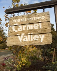 Entrance sign to the Carmel Valley